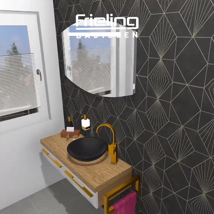 Mit Einer Auffallenden Wandgestaltung Im Stil Der 1920er Und Akzente In Gold Schwarz Bei Der Einrichtung Ist Dieses Video In 2020 Badezimmer Dekor Bad Design Badgestaltung