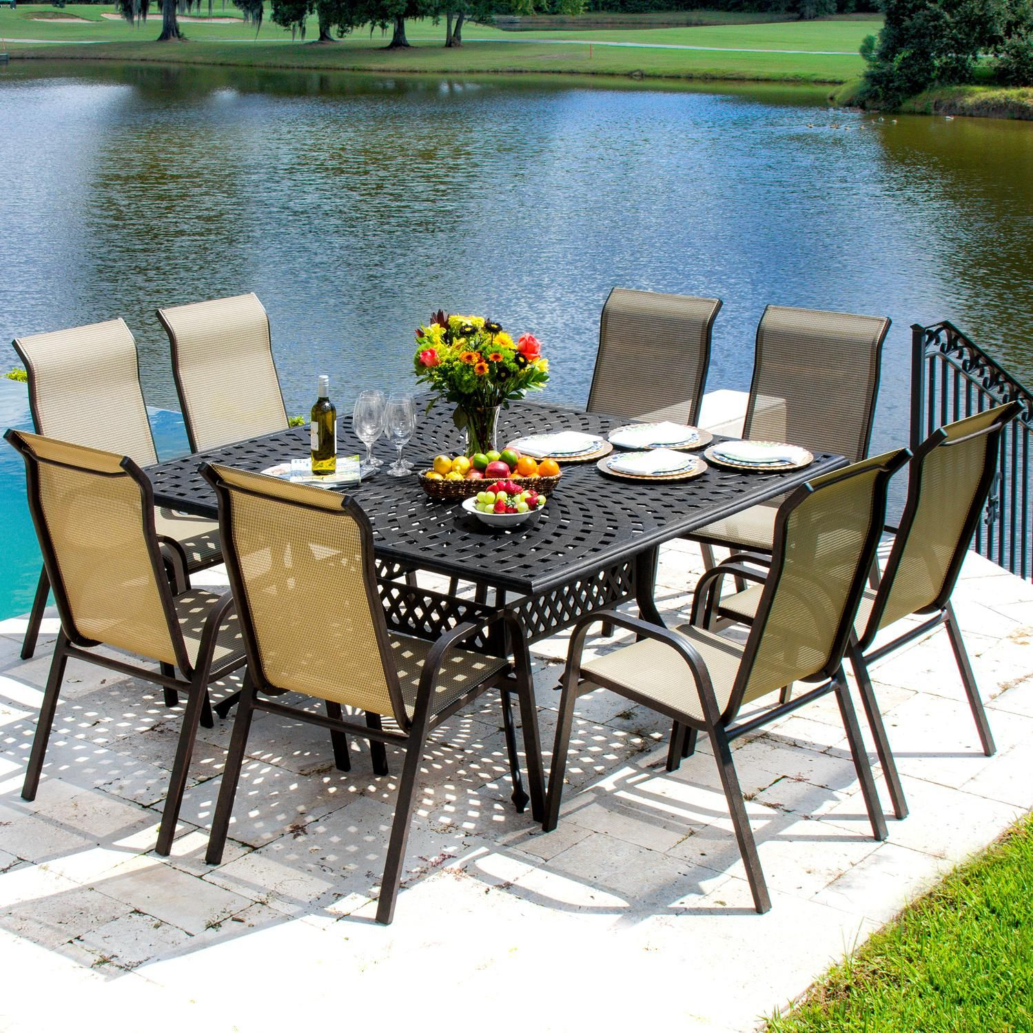Madison Bay 8 Person Sling Patio Dining Set With Stacking Chairs And Square  Table By