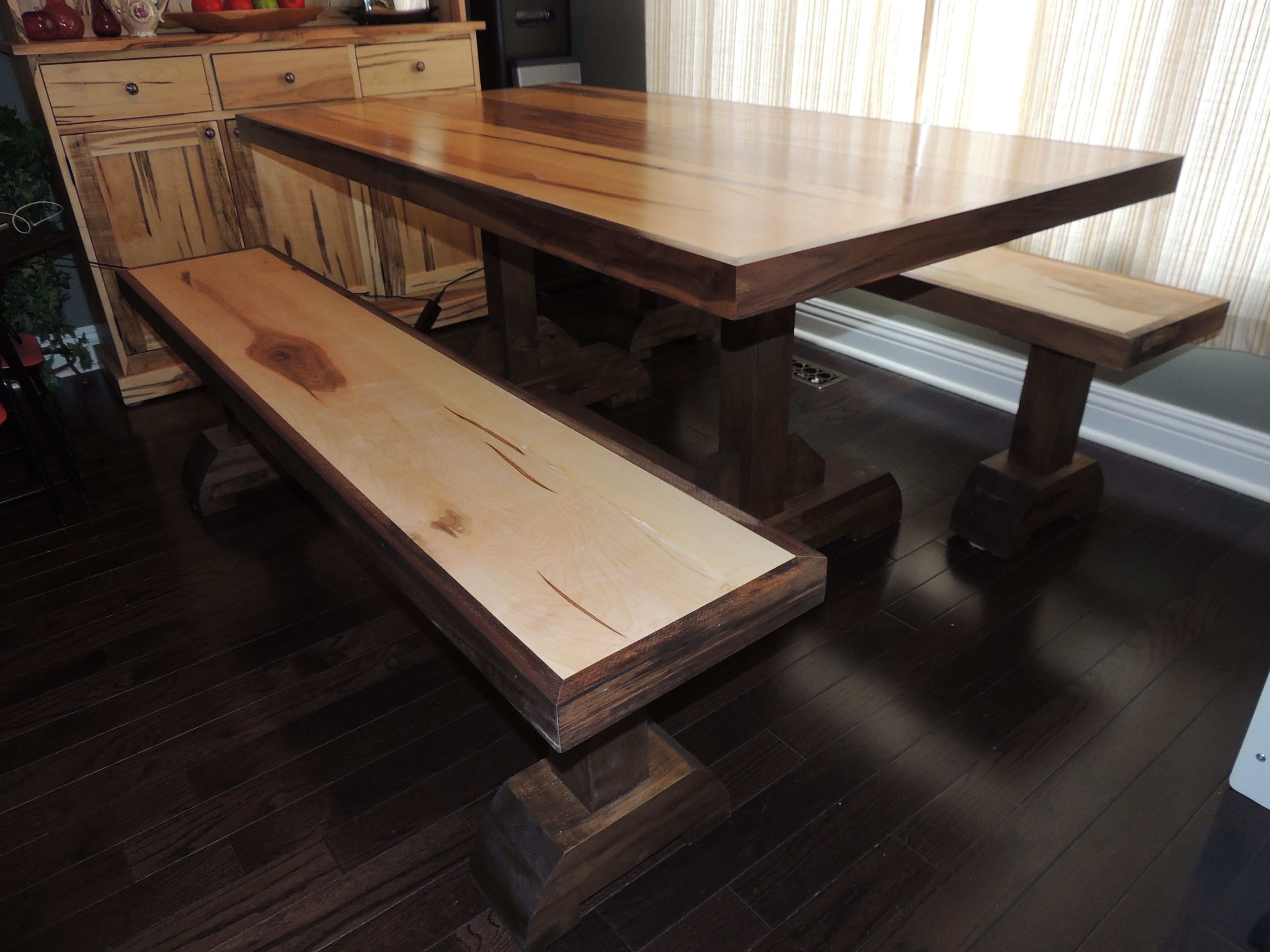 Wormy Maple Table With Walnut Trim And Matching Benches
