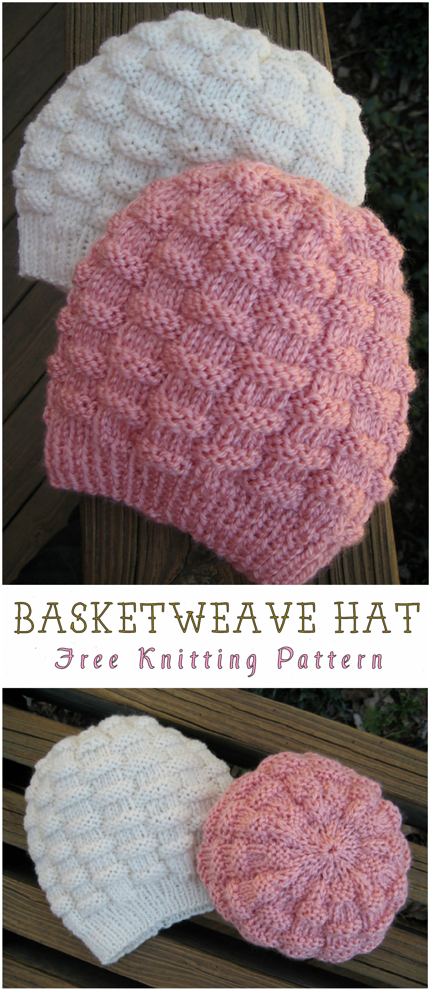 Basketweave Hat Free Knitting Pattern  f03f4a38c4ad