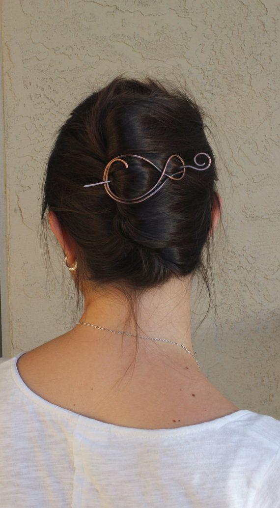 Rustic copper hair slide large hammered hair barrette simple metal hair  clip hair pin minimalist hair 4517c6c2e7fa