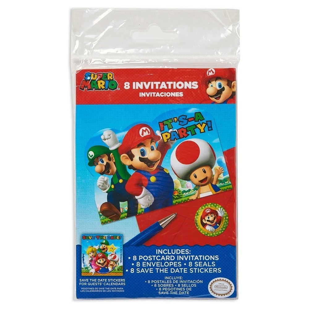 Super Mario Postcard Invitations - 8ct,