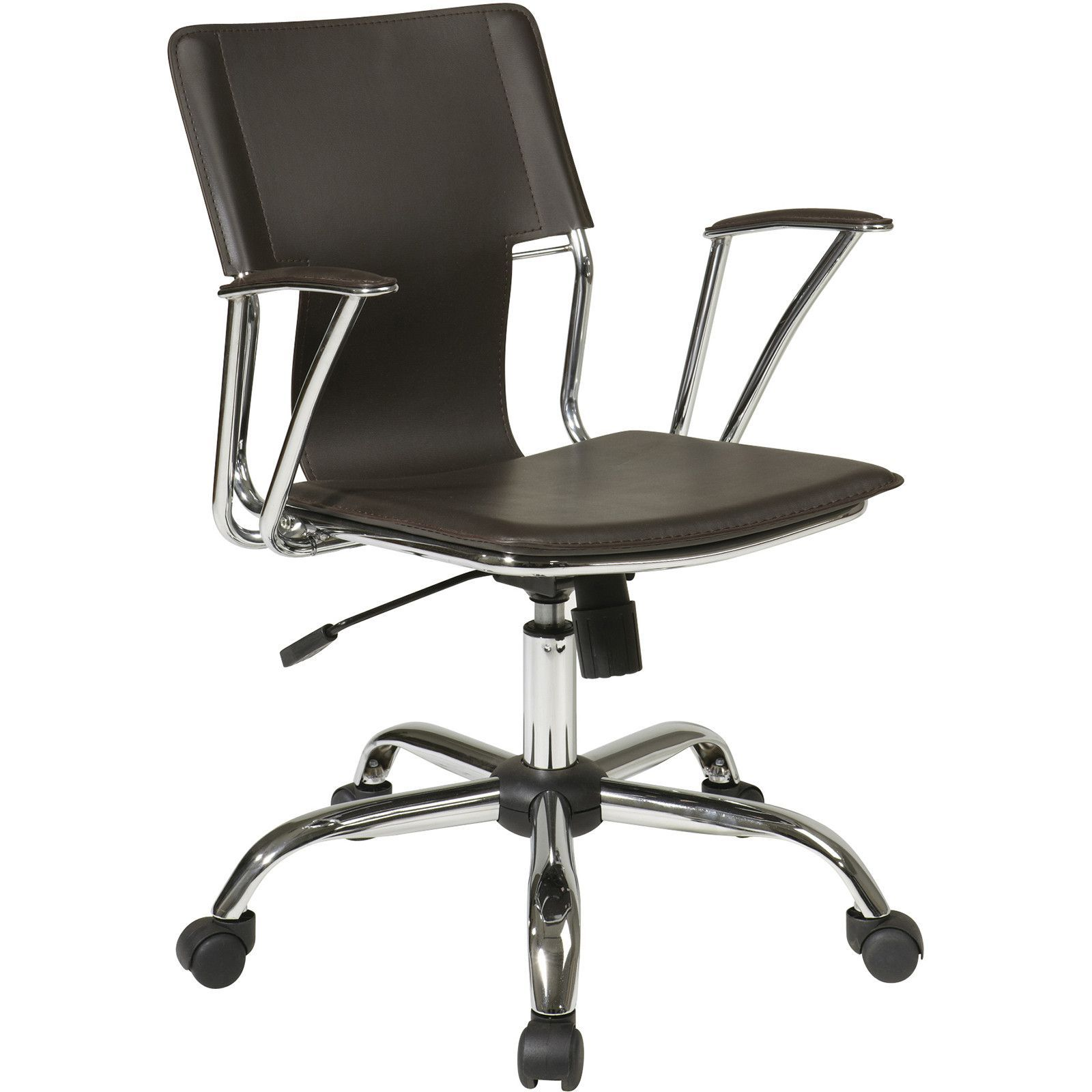 Dorado Office Chair with Fixed Padded Arms & Chrome Finish, Espresso