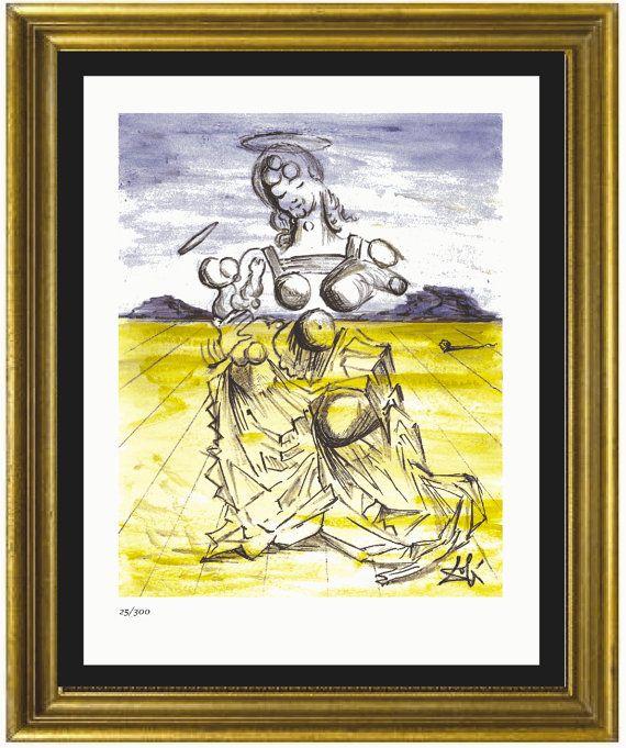 """unframed Salvador Dali Signed//Hand-Numbrd Ltd Ed /""""Mother /& Child /"""" Litho Print"""