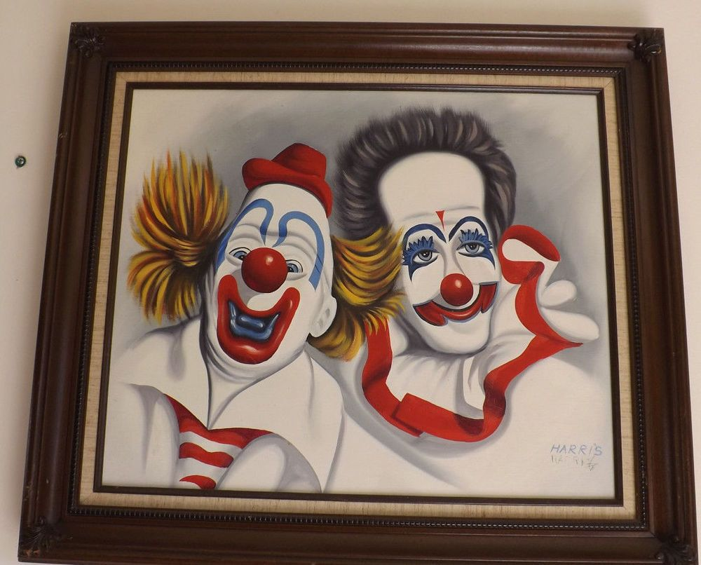 Vintage HARRIS double signed Clown painting 30x26.5\