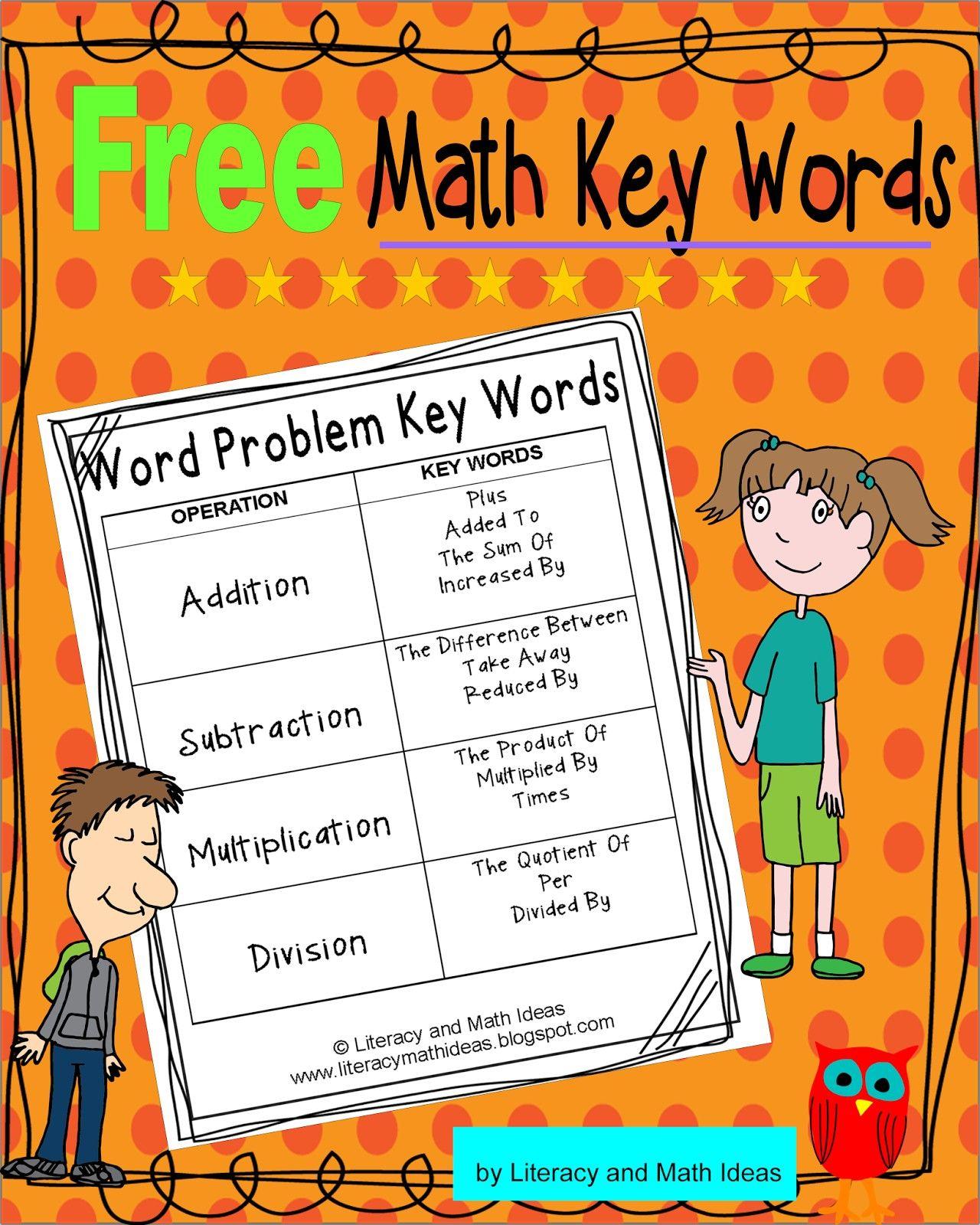Math Key Words Freebie   Math key words, Math operations ...