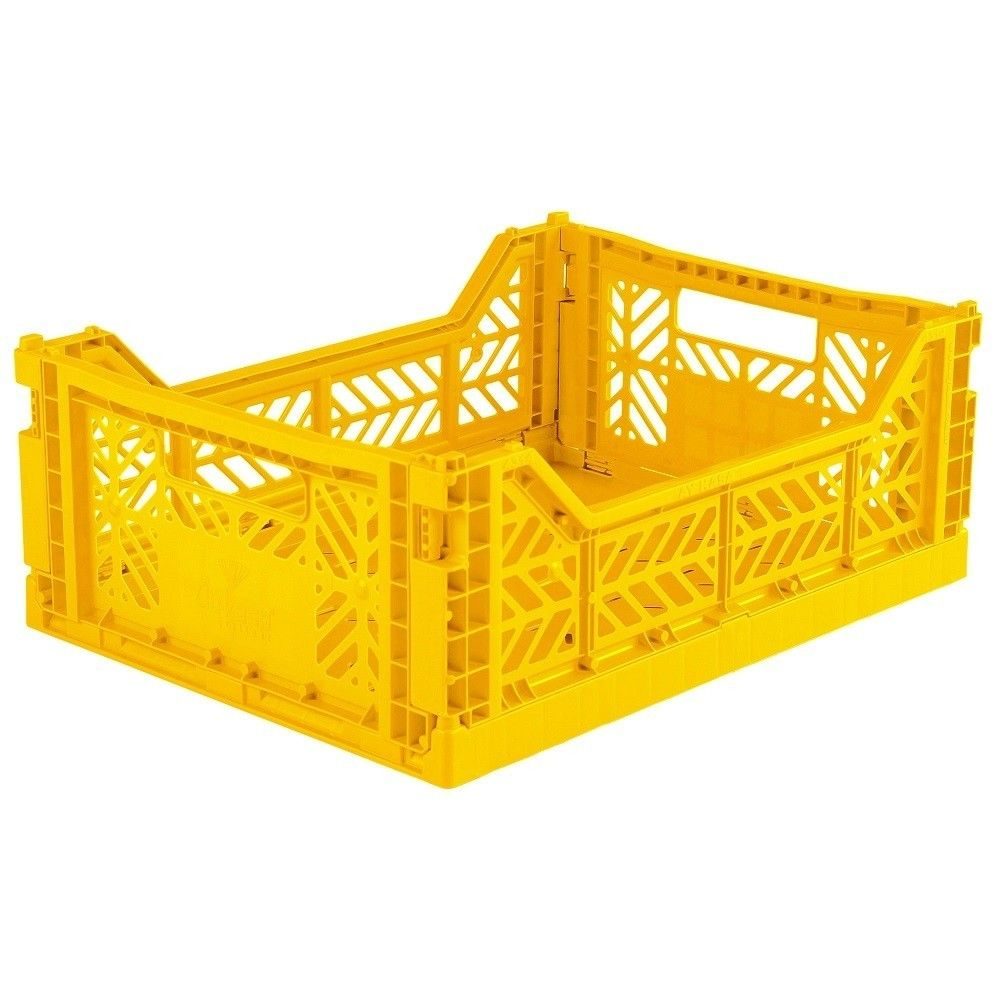 Ay Kasa Folding Crate Midi Yellow Yellow Home Accessories Crates Home Accessories