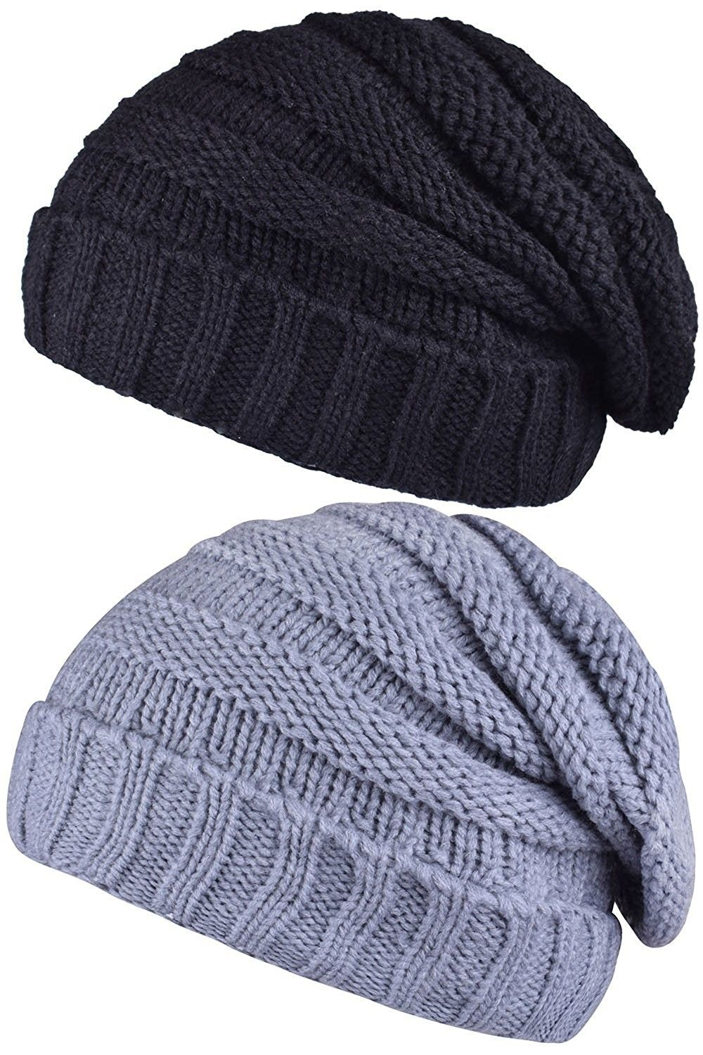 7a979cb8b02 Adult Slouch Beanie Hat Warm Knit Winter Hat Outdoor Skull Cap Men s ...