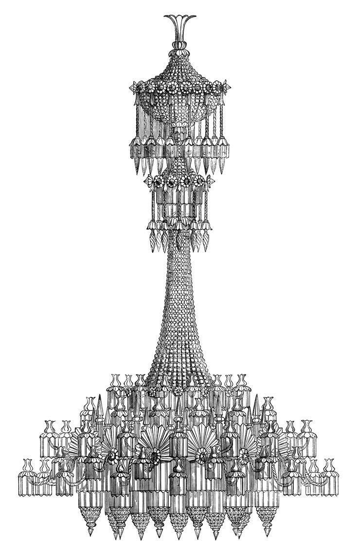 vintage chandelier clipart, free black and white clip art, antique lighting  illustration, victorian chandelier engraving, digital chandelier graphic - Chandelier Illustration - Google Search Inking Pinterest