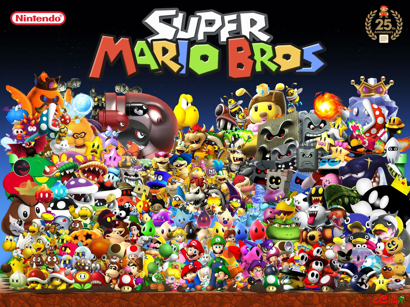 Super Mario Bros Character Wallpaper With Images Super Mario