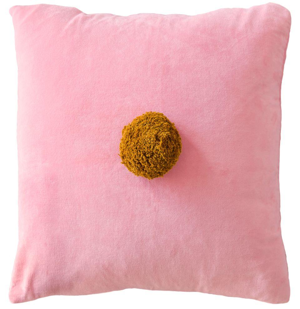 Baby Pink Velvet Pom Pom Cushion Cover Castle And Things Pompom Cushion Pink Velvet Pom Pom