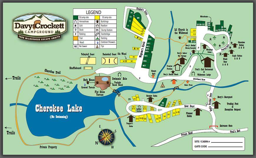 Davy Crockett Campground Crossville Tennessee Site Map Campground Crossville Tennessee Tennessee