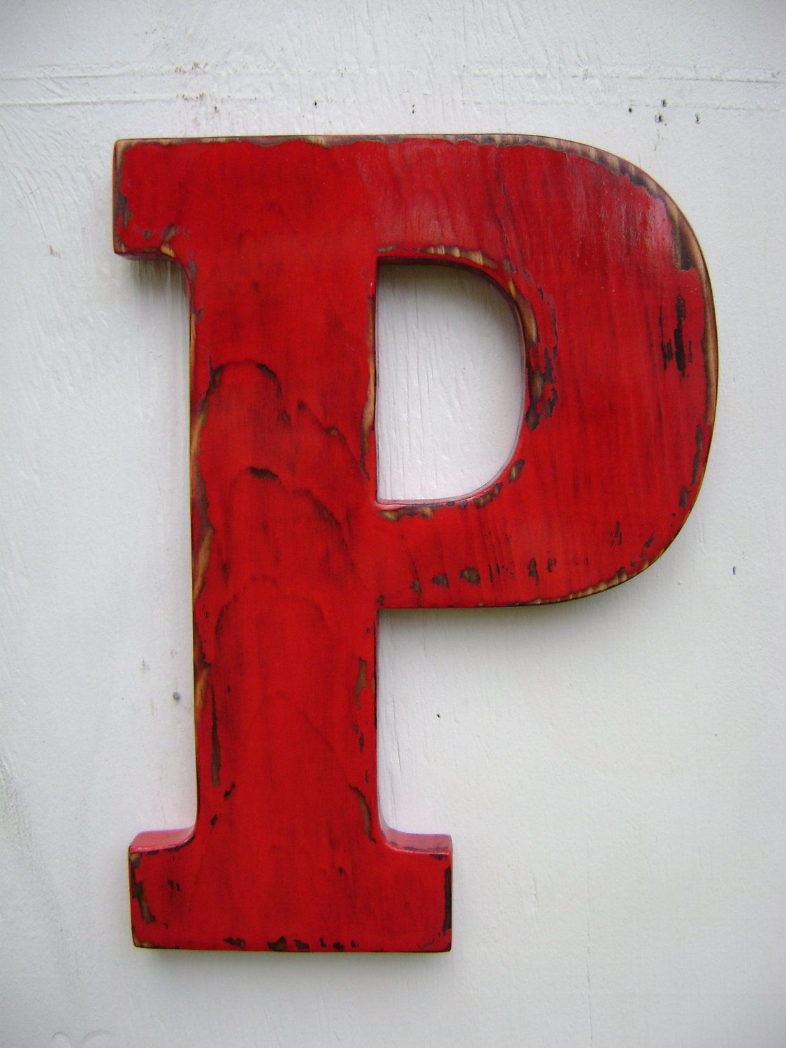wooden letter p shabby chic rustic wall hanging decor painted true red
