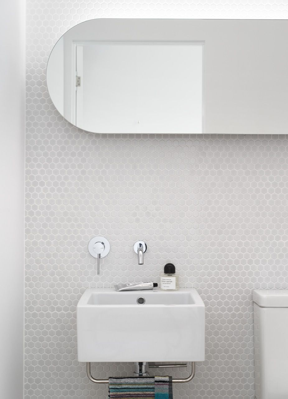White mosaic tile wall. | Powder Room | Pinterest | White mosaic ...