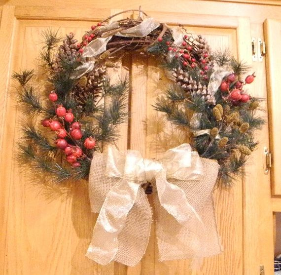 Extravagant holiday wreath with pine by LilyPadsAndSunshine