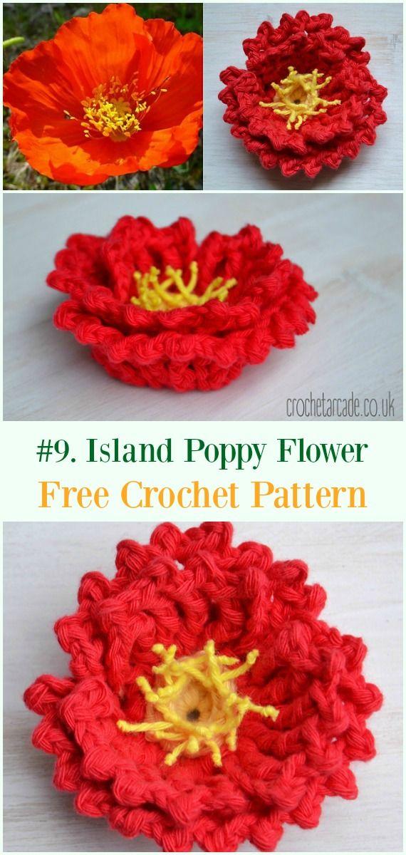 Crochet Island Poppy Flower Free Pattern - #Crochet #Poppy Flower ...