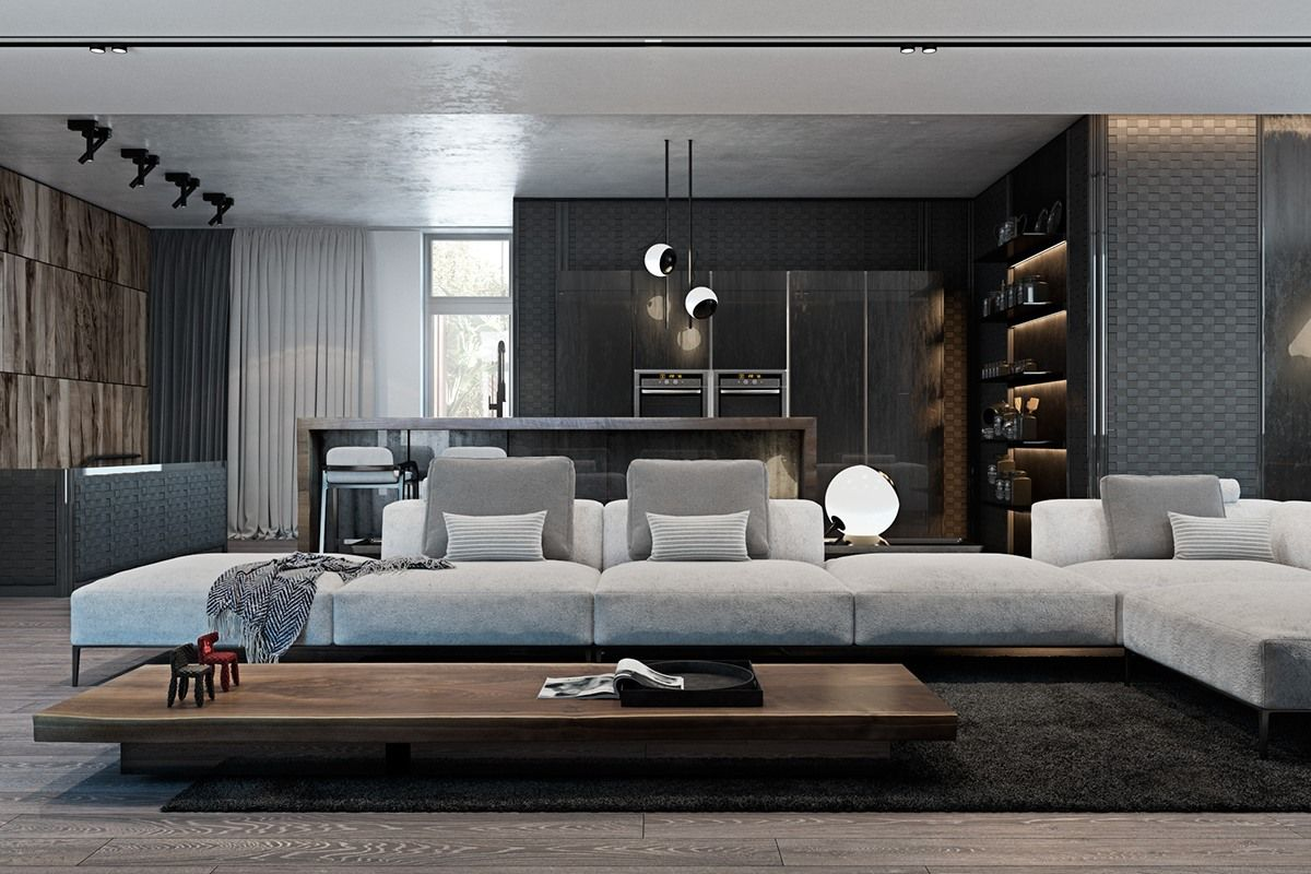 A Modern Flat With Striking Texture And Dark Styling Stylish Living Room Apartment Decor Studio Apartment Decorating
