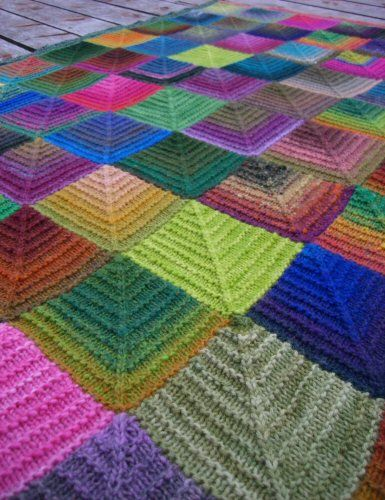 FO: Mitered Square Blanket | Manta, Dos agujas y Colchas