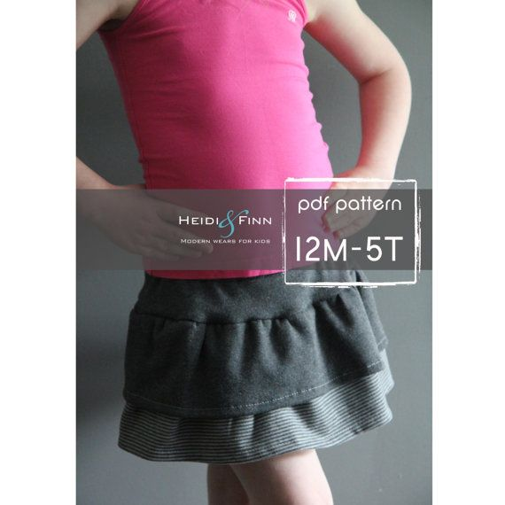 Tennis skort pattern and tutorial PDF 12m-5t easy sew skirt shorts uniform