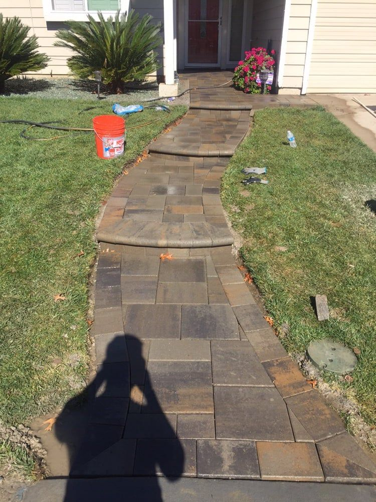 Photo Of Pavers Made Possible West Sacramento Ca United States New S Walkway With Bullnose Steps Almost Complete West Sacramento Front Patio Pavers