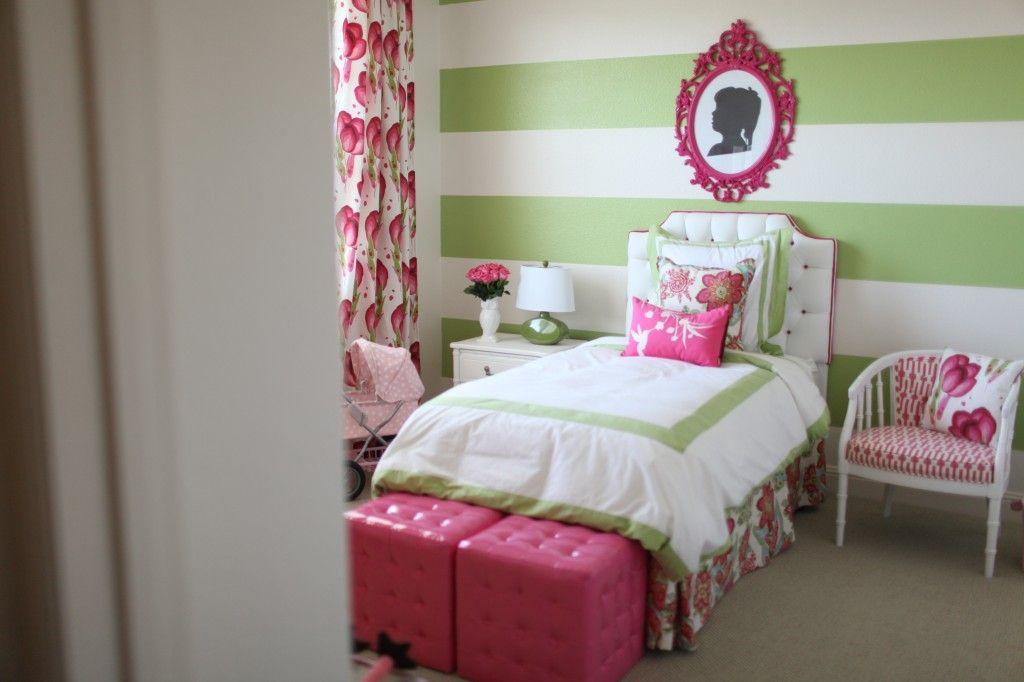 Preppy Modern Pink Green Girl S Room Green Girls Rooms Pink