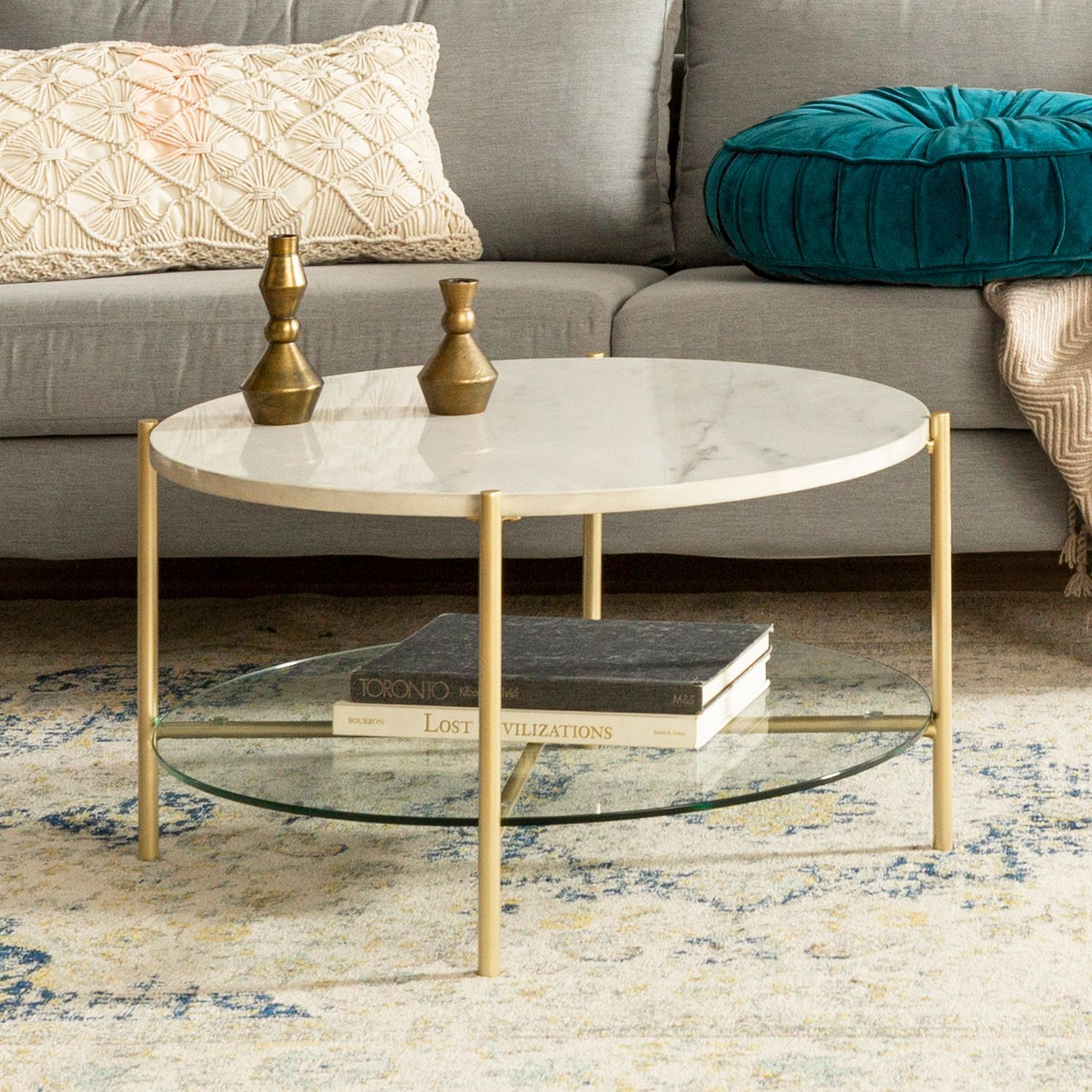 Round White Faux Marble Gold Coffee Table With Glass Shelf Pier 1 Imports Muebles Sala Muebles Para Tv Muebles [ 1500 x 1500 Pixel ]