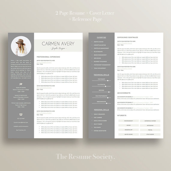 Resume Template 4 Pages Cv Cover Letter References Ms Word Instant Digital Download Creative Cv Professional Classic Cover Letter For Resume Resume Template Resume