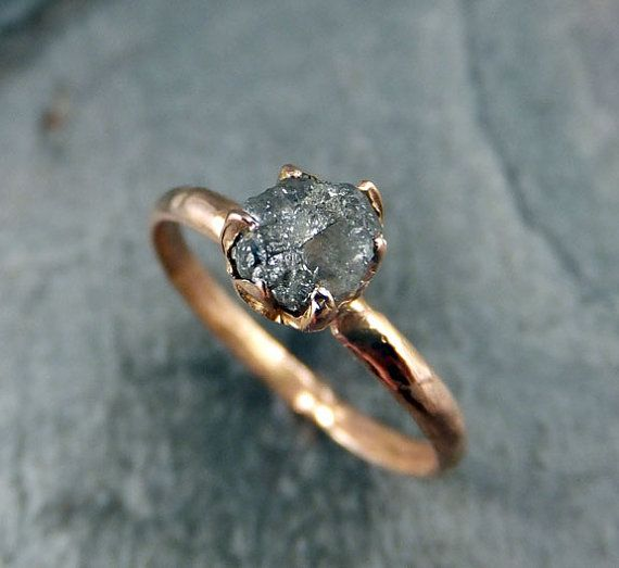RESERVED Raw Diamond Engagement Ring Rough Uncut 14k rose Gold Wedding Ring Grey diamond  Wedding Set Stacking Rough Diamond RingbyAngeline
