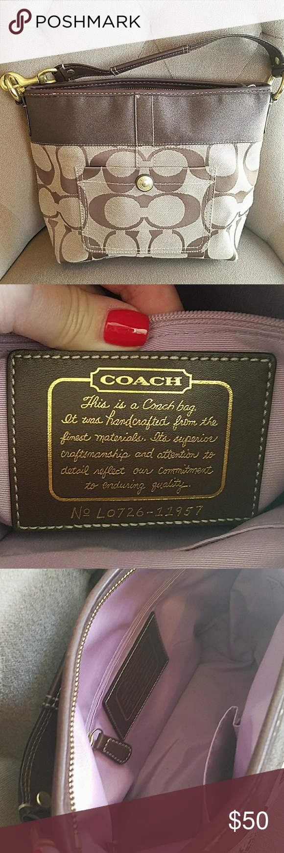 Coach Handbag Super cute Coach purse. Traditional C pattern with lavender lining inside. Excellent condition! Coach Bags Shoulder Bags