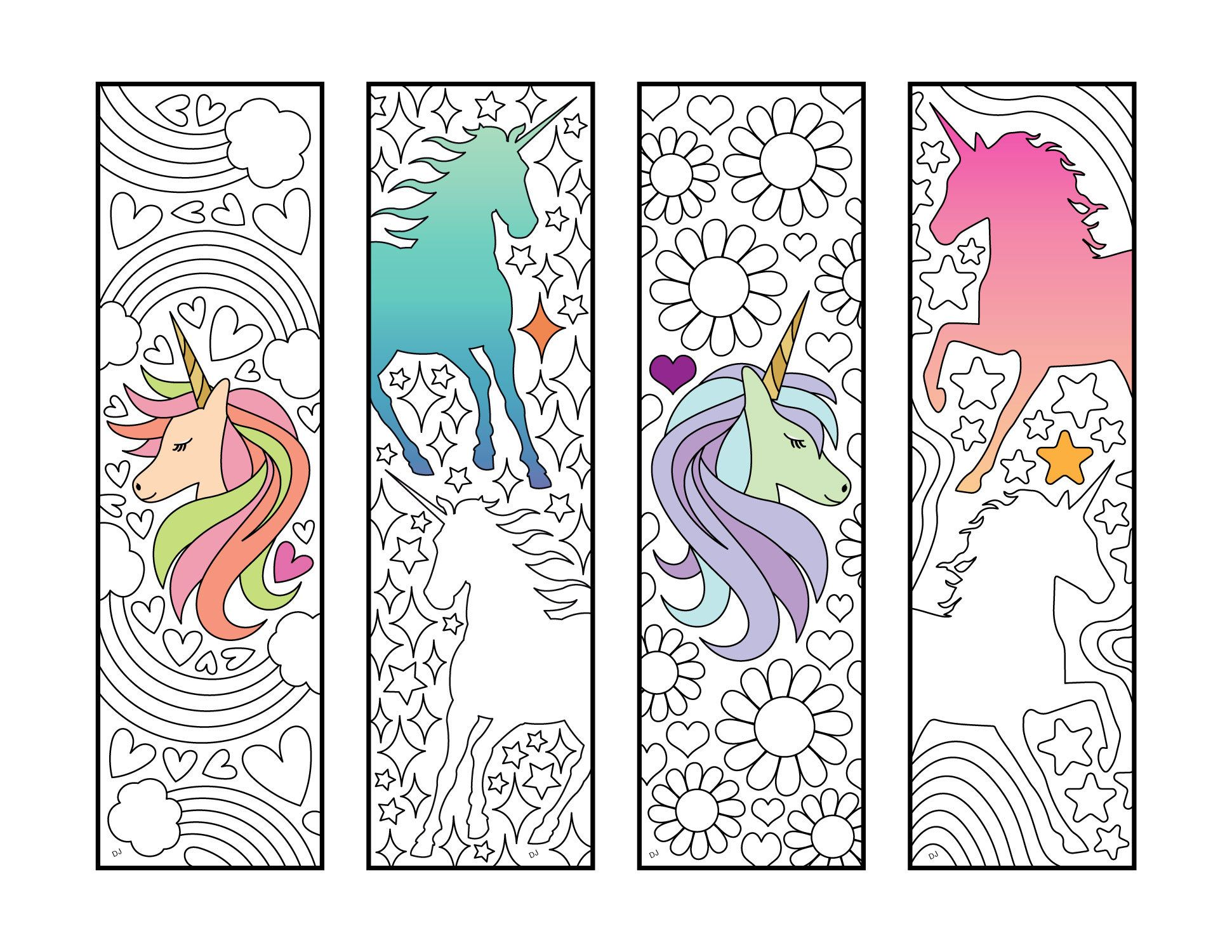 Unicorn Bookmarks PDF Zentangle Coloring Page (avec