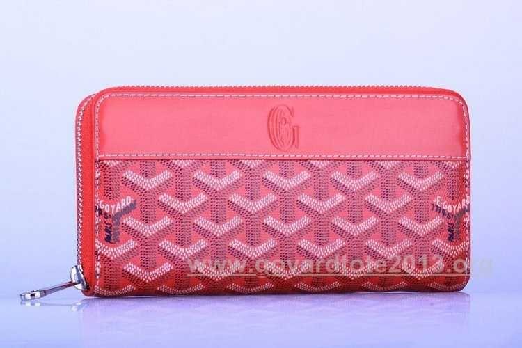 Goyard Zipper Long Wallet Red Online Store