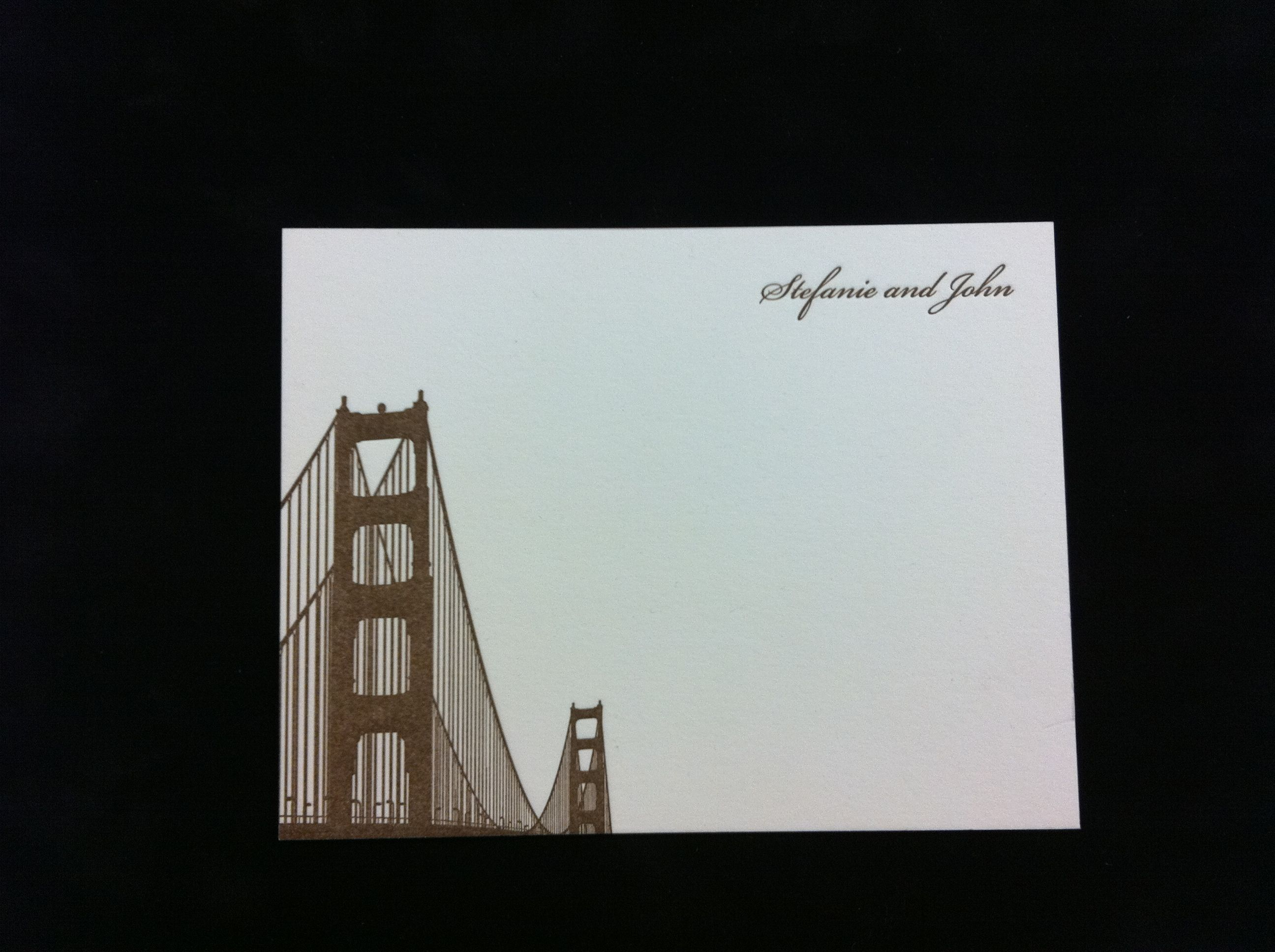 Letterpress san francisco wedding thank you cards with golden gate san francisco themed golden gate bridge letterpress and thermography wedding invitations save the dates wedding thank you cards and stationery at hyegraph stopboris Choice Image