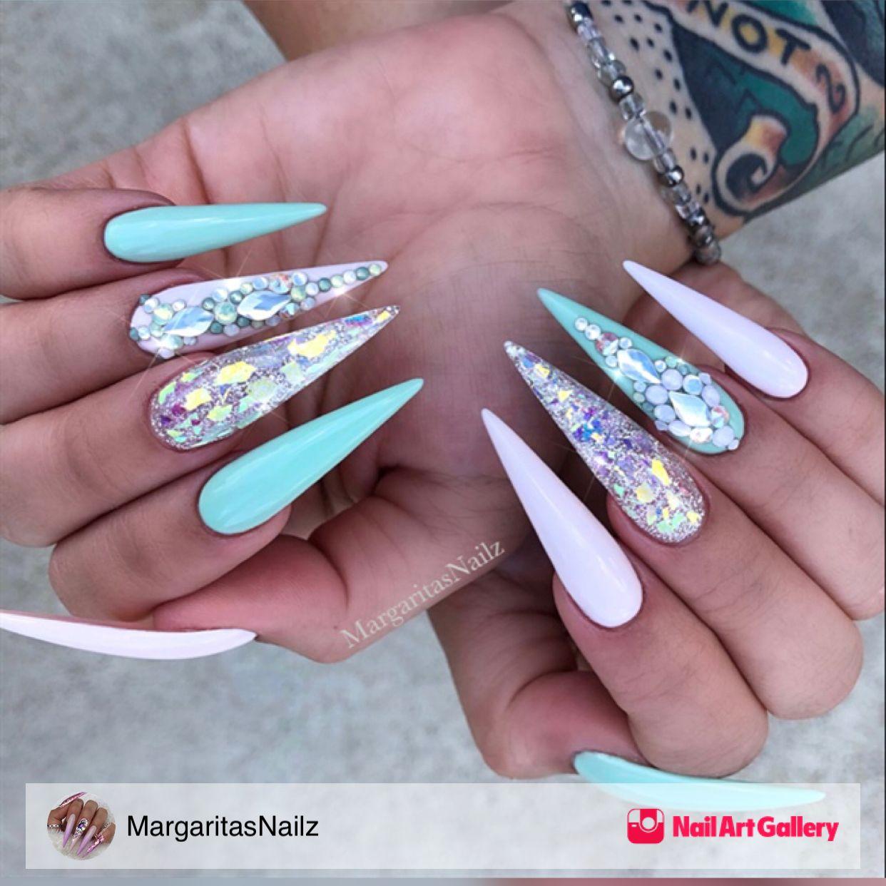 Mint Green Bling Stiletto Nails by MargaritasNailz via ...