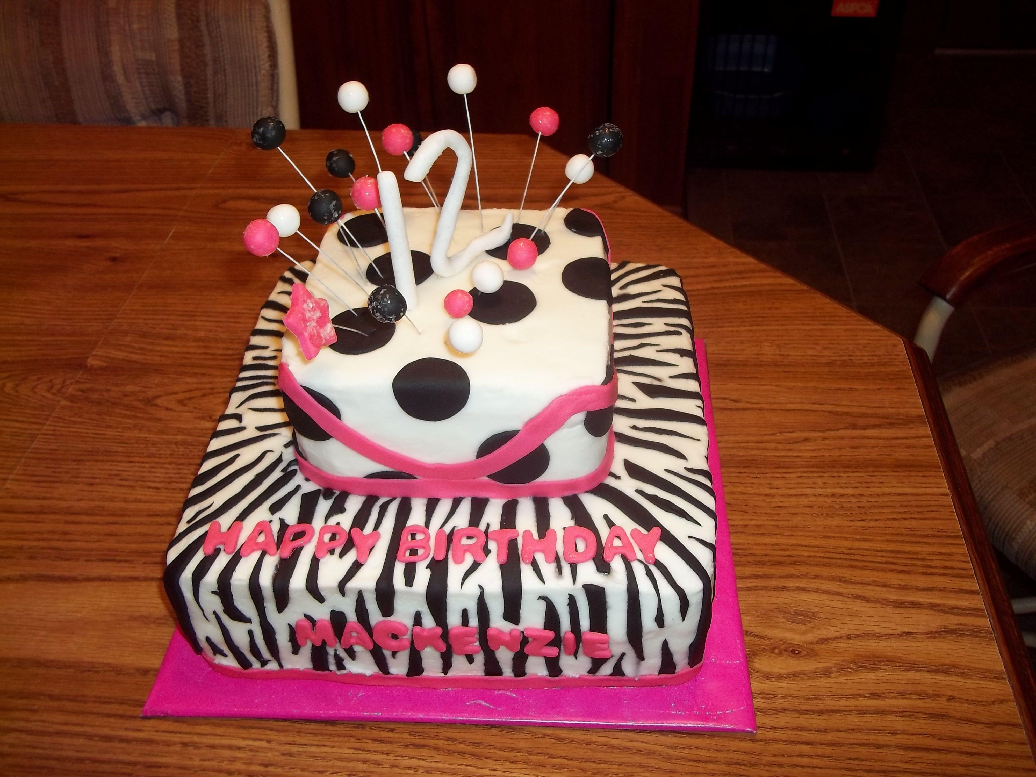 Zebra Stripe Cake Happy Birthday J Pinterest Striped Cake