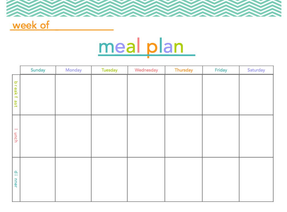 Free meal plan printable makes meal planning a little for Free weekly meal planner template