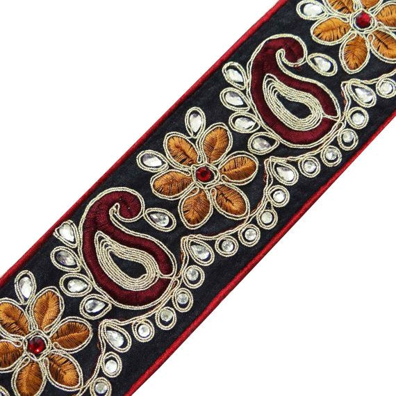 Handmade Beaded Fabric Trim Supplies Black Embroidered Border Tape Sewing  Paisley Royal Lace India By The