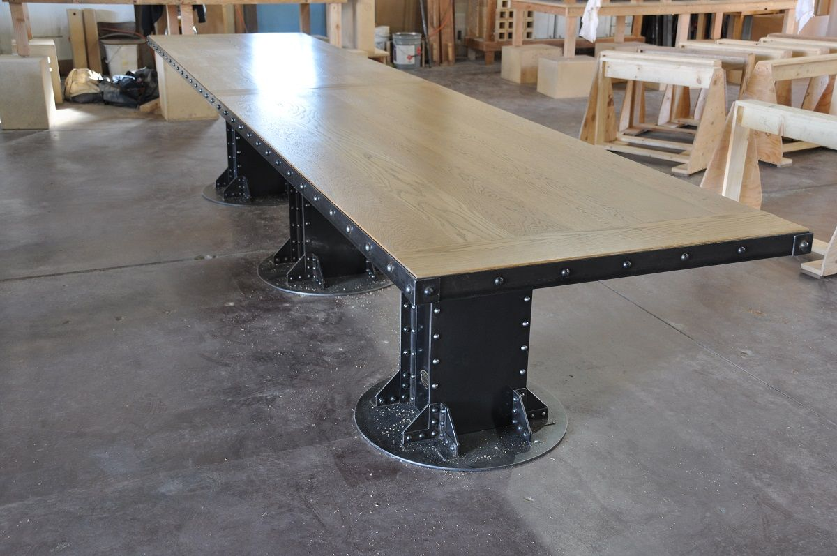 Post industrial conference table vintage industrial furniture - 14 I Beam Conference Table With 3 Base Support Worn Oak Top And