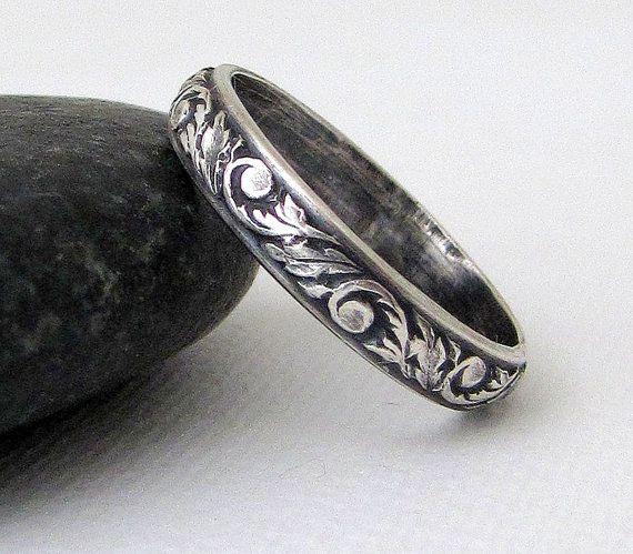 Antik Hochzeitsgeschenk Band Blumenmuster Ring Silber Rebe Blatt