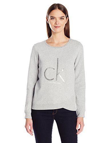 dfa2a690fd2b Calvin Klein Jeans Women s Caviar Ck Logo Sweatshirt