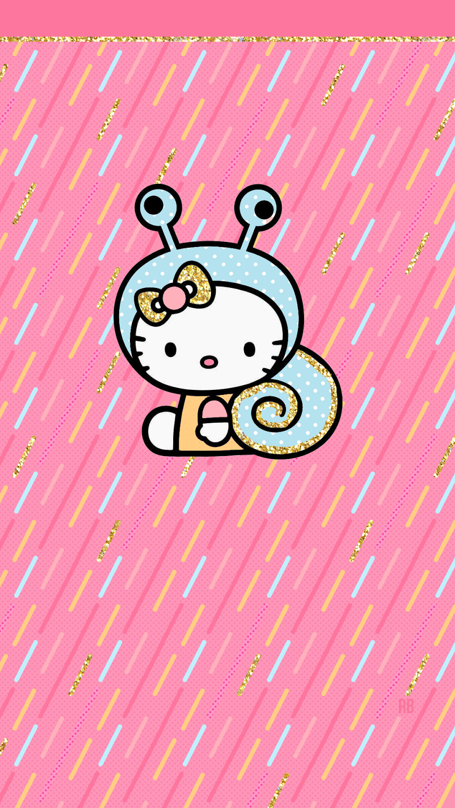 Hello Kitty Snail Cute Sprinkles Gold Glitter Pink Pastels Adorable Phone Wallpaper Wallies Freebies Free Iph Hello Kitty Wallpaper Kitty Wallpaper Hello Kitty