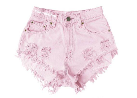 high waisted pink denim shorts