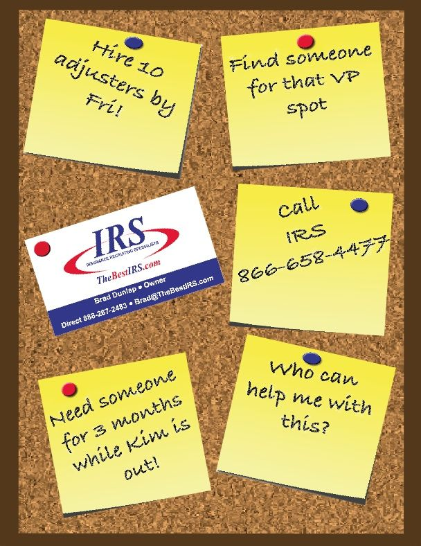 Do You Need Help Finding Your Next Vp Or Claims Adjuster Let Irs