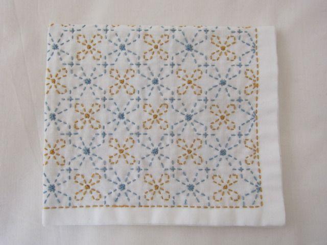 刺し子の布巾(変わり七宝)