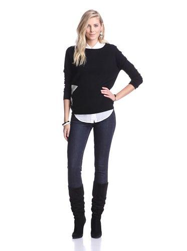 Kier & J Women's Star Detail Cashmere Sweater (Black/Crème White)