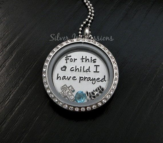 For this child I have prayed Floating Locket Necklace / Personalized Sterling Silver Jewelry and Hand Stamped Lockets by Silver Impressions