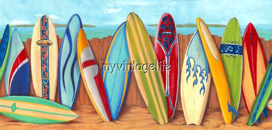 Colorful Surf Boards At The Beach Surfer Quilting Fabric