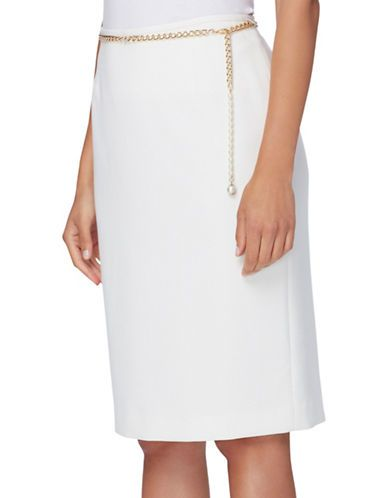 Tahari Arthur S. Levine Petite Faux Pearl Accented Belted Pencil Skirt