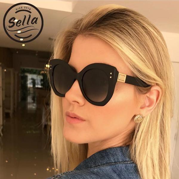 67257317290 Sella New Fashion Women Oversized Cateye Nail Decoration Gradient Lens  Sunglasses Summer Ladies Trending Simple Sun