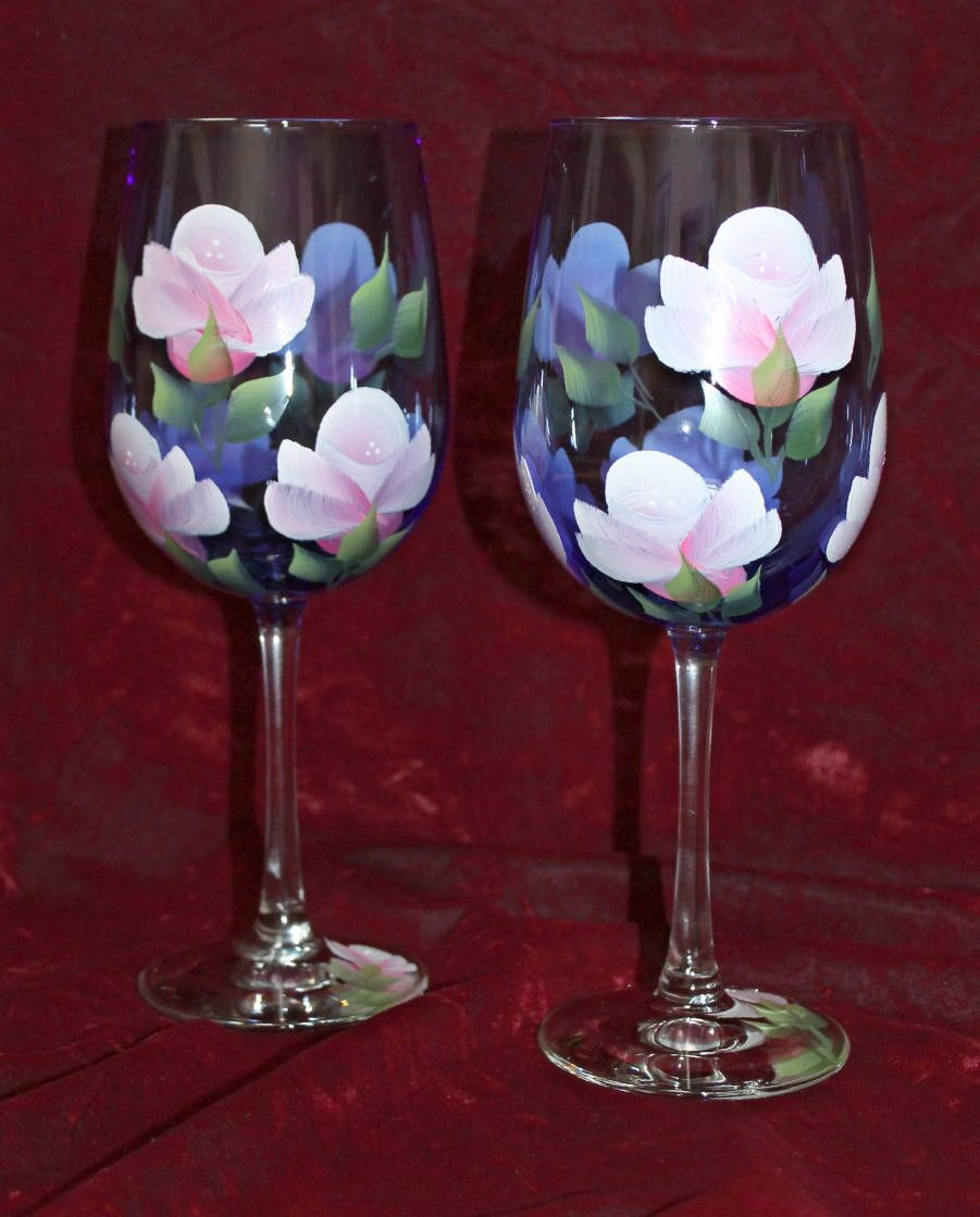 Hand Painted Wine Glasses Pink Roses On Cobalt Blue Glass Etsy Hand Painted Wine Glasses Painted Wine Glasses Decorated Wine Glasses