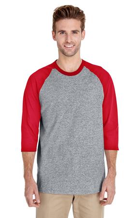 Gildan G570 Sport Grey/Red Adult Heavy Cotton™ 5.3 oz. 3/4